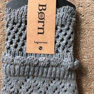 Born grey knit leg warmers